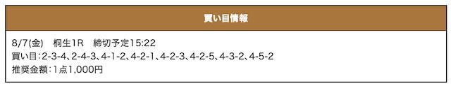激船の無料予想20/08/07