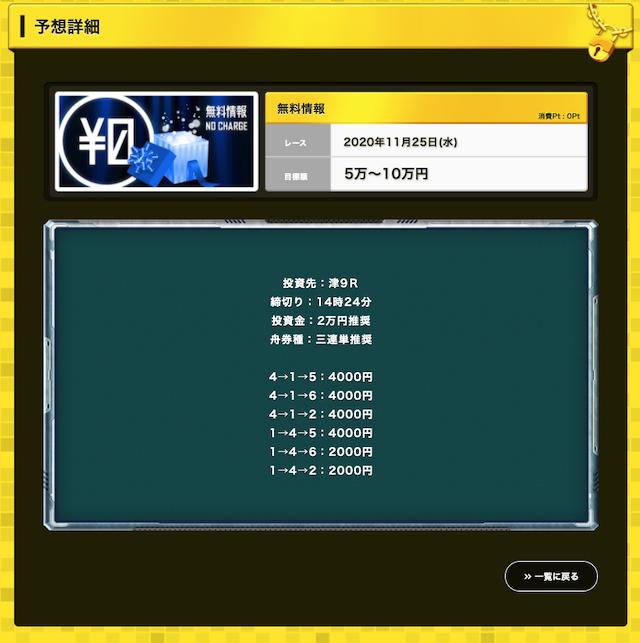 セカンドライフの無料予想20/11/25
