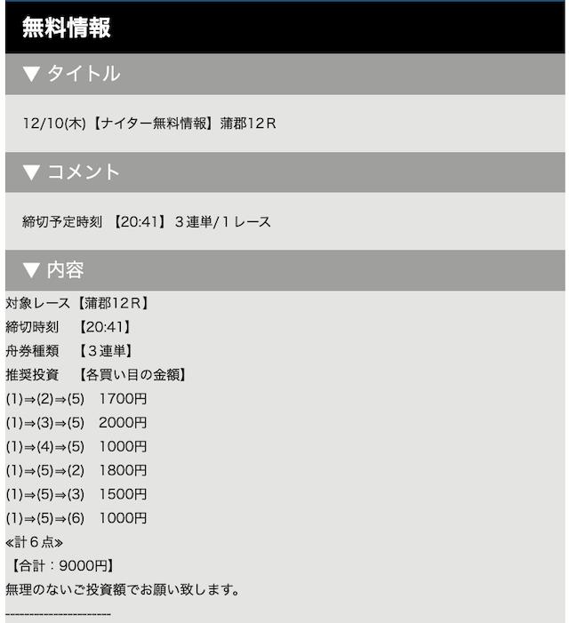 ビーナスボートの無料予想20/12/10