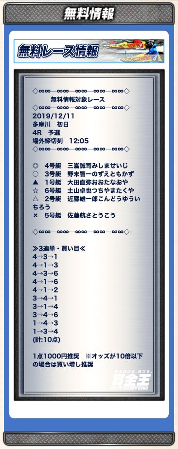 賞金王の無料予想12/11