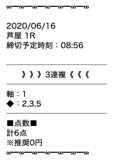 黒舟の無料予想20/06/16