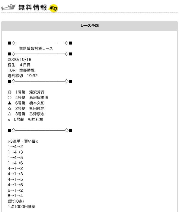 競艇予想ナビの無料予想20/10/18