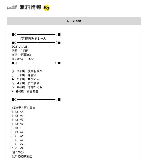 競艇予想NAVIの無料予想21/01/21