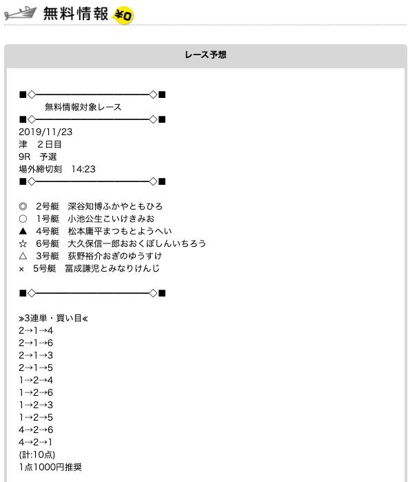 競艇予想NAVIの無料予想11/23