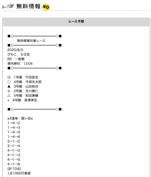 競艇予想NAVIの無料予想20/08/03