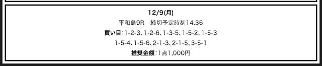 競艇部屋の無料予想12/9