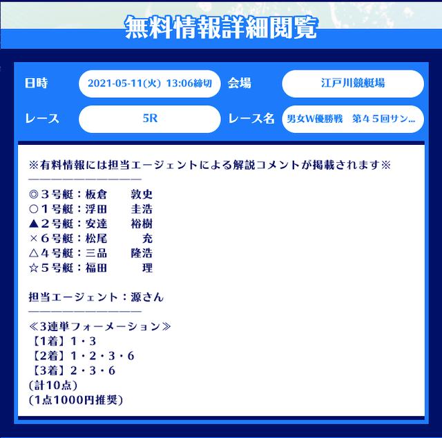 舟生の無料予想21/05/11