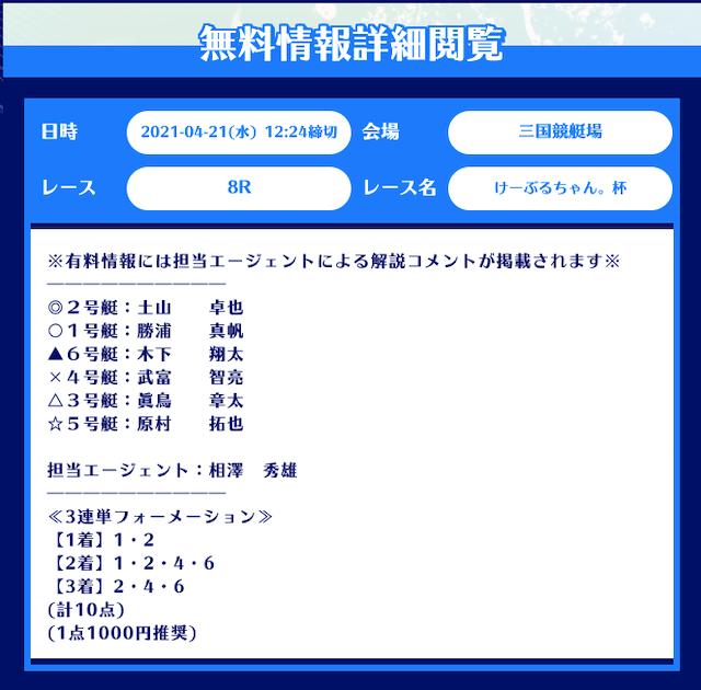 舟生の無料予想21/04/21