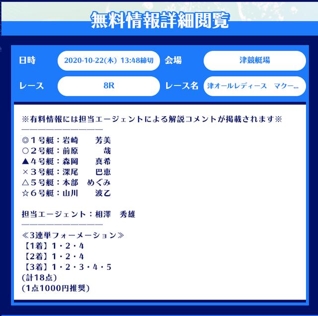 舟生の無料予想20/10/22