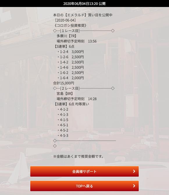 花舟の有料予想20/06/04