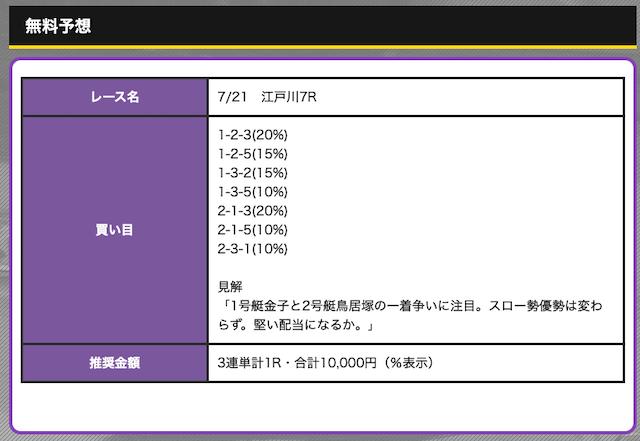 競艇オニアツの無料予想21/07/21