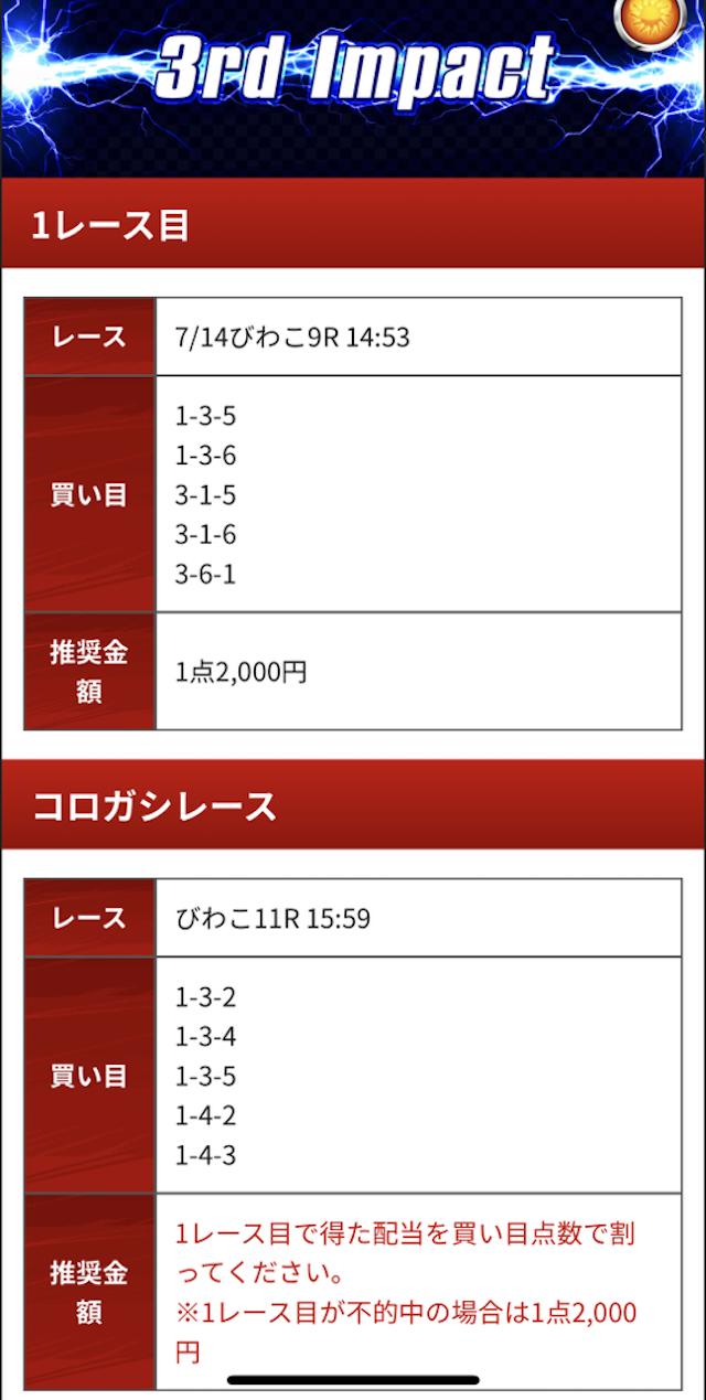 競艇インパクトの有料予想20/07/14