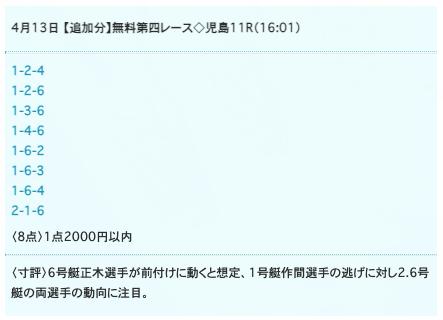ドリームボートの無料予想21/04/13
