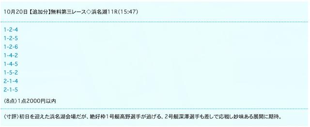ドリームボートの無料予想20/10/20