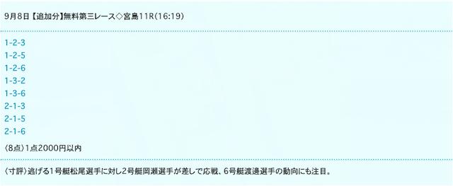ドリームボートの無料予想20/09/08