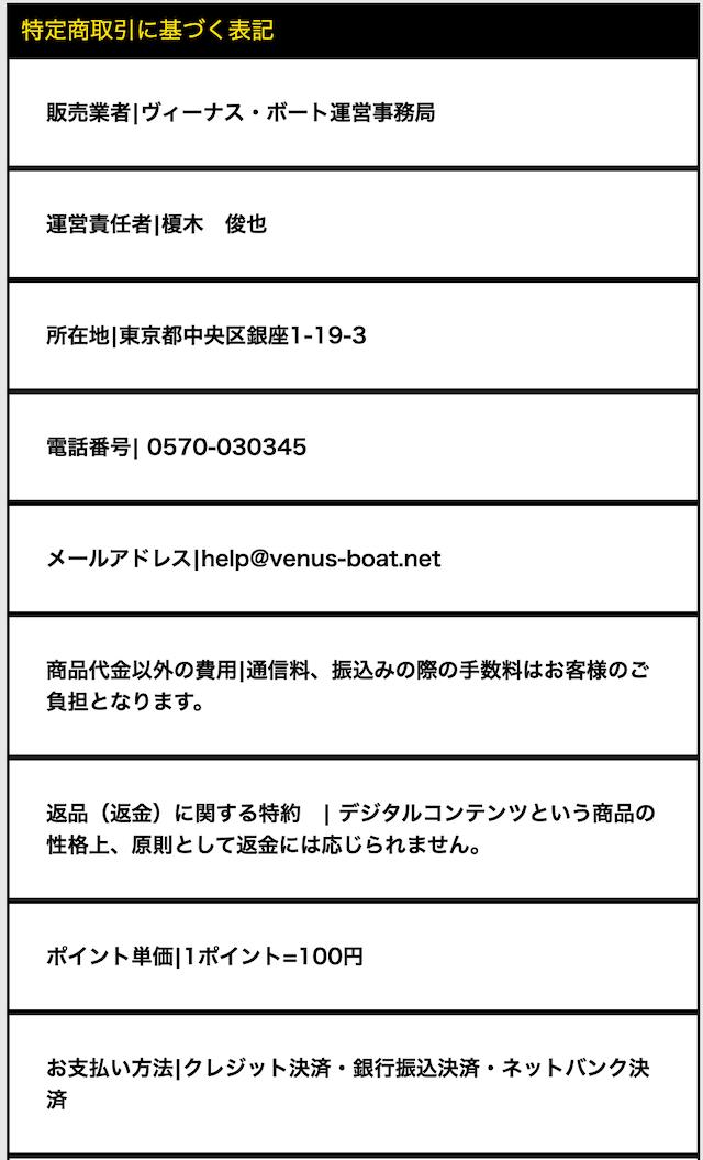 ビーナスボートの特定商取引法に基づく表記について