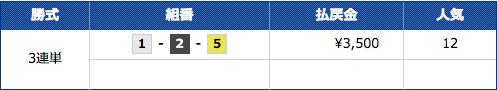 競艇CHAMPIONのミドル級の2レース目の結果