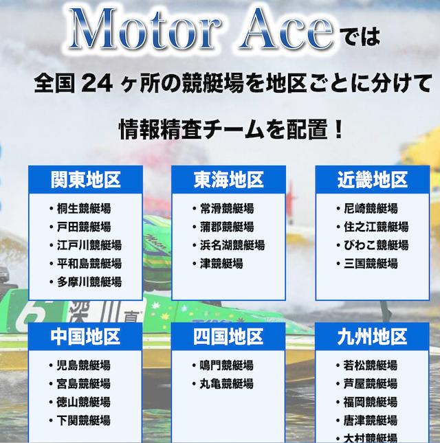 モーターエースの情報を精査している24箇所に配置されたチームについて